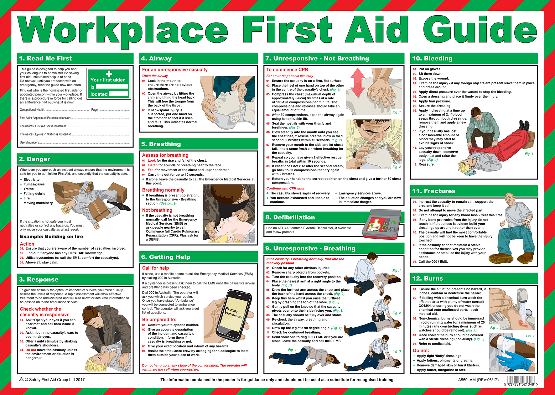 workplace safety posters first aid guide 580 x 830mm laminated rh accidental com au First Aid Charts to Print Basic First Aid
