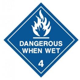 Dangerous Goods Labels & Placards - Dangerous When Wet (White)