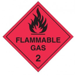 Dangerous Goods Labels & Placards - Flammable Gas 2 (Black & Red )