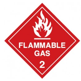 Dangerous Goods Labels & Placards - Flammable Gas 2 (White & Red )