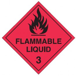 Dangerous Goods Labels & Placards - Flammable Liquid 3 (Black & Red )