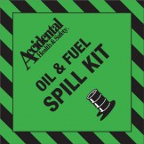 Accidental Polypropylene Oil & Fuel Spill Kit Bin Label FRONT