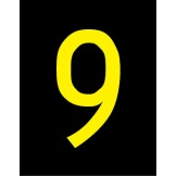 Reflective Numbers & Letters, Series 5900 25mm - Yellow/Black