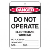 Large Economy Lockout Tags - Do Not Operate Electricians Working