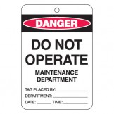 Large Economy Lockout Tags - Do Not Operate Maintenance Department