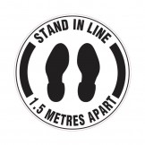 Floor & Carpet Marking Sign - Stand In Line 1.5 Metres Apart