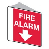 Double Sided Sign Fire Alarm Arrow Down 225 x255mm Polypropylene