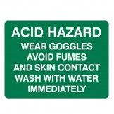 Acid Hazard Wear Goggles Avoid Fumes And Skin Contact Wash With