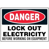 Arc Flash & Lockout Labels - Lock Out Electricity Before Working On Equipment