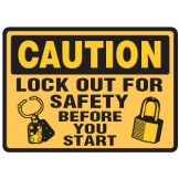 Arc Flash & Lockout Labels - Lock Out For Safety Before You Start