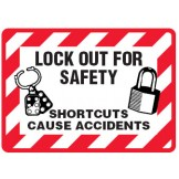 Arc Flash & Lockout Labels - Lock Out For Safety Shortcuts Cause Accidents