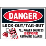 Arc Flash & Lockout Labels - Lock-Out/Tag-Out All Power Sources