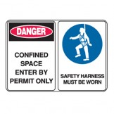 Confined Space Enter By Permit Only / Safety Harness Must Be Worn