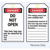 Lockout Tags - Danger Do Not Open - Reverse Side #1