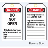 Lockout Tags - Danger Do Not Open - Reverse Side #2
