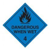 Dangerous Goods Labels & Placards - Dangerous When Wet (Black)
