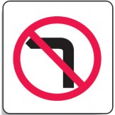 Direct No Left Turn Sign 600x600mm C2 Ref Aluminium