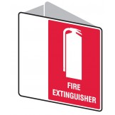 Double Sided Fire Sign - Fire Extinguisher 225 x 225mm Polypropylene