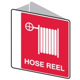 Double Sided Fire Signs - Hose Reel 225 x 225mm Polypropylene