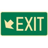 Exit & Evacuation Signs - Arrow Down Diagonal Left Exit