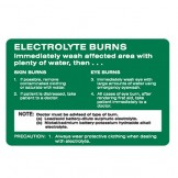 Electrolyte Burns Immediately Wash Affected Area With