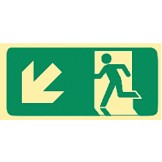 Exit & Evacuation Signs - Arrow Down Diagonal Left (Wth Picto)