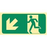 Exit & Evacuation Signs - Arrow Down Diagonal Left (Wth Picto)