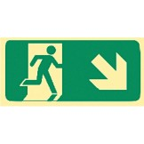 Exit & Evacuation Signs - Arrow Down Diagonal Right (With Picto)