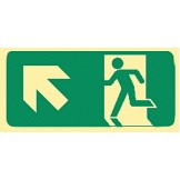 Exit & Evacuation Signs - Arrow Up Diagonal Left (Wth Picto)