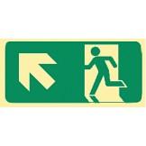 Exit & Evacuation Signs - Arrow Up Diagonal Left (Wth Picto)