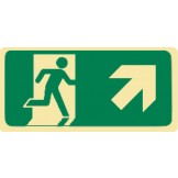 Exit & Evacuation Signs - Arrow Up Diagonal Right (With Picto)