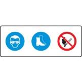 Eye And Foot Protection Symbols And No Naked Flame Symbol