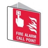 Double Sided Sign Fire Alarm Call Point 225 x255mm Polypropylene
