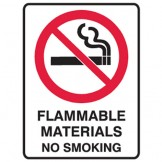 Flammable Materials No Smoking - Glow Sign
