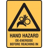 Hand Hazard De-Energise Before Reaching In W/Picto