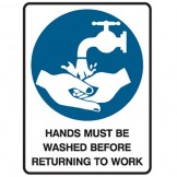 Hands Must Be Washed Before Returning To Work - Ultra Tuff Signs