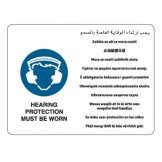 Hearing Protection Must Be Worn - Multilingual Signs