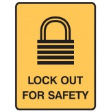 Lockout Signs - Lock Out For Safety W/Picto