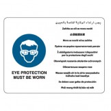 Multilingual Sign - Eye Protection Must Be Worn