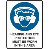 Hearing And Eye Protection Must Be Worn In This Area Labels
