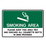 Smoking Area Please Keep This Area Tidy And Discard All Cigarette Butts In Bins Provided