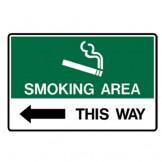 Smoking Area This Way - Left Arrow