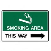 Smoking Area This Way - Right Arrow