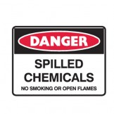 Spilled Chemicals No Smoking Or Open Flames