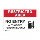 Restricted Area Sign - No Entry, Authorised Personnel Only