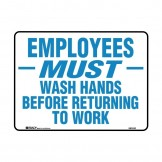 Hygiene And Food Safety Signs - Employees Must Wash Hands Before Returning To Work