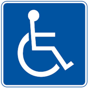 Disabled sign or handicapped symbol blue and white classic ...