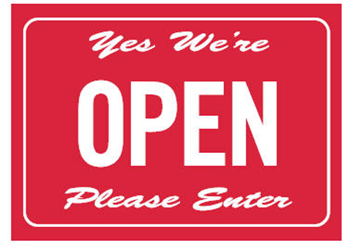 Double Sided Open/Closed Door Sign  sc 1 st  Accidental Health u0026 Safety & Yes Weu0027re Open Please Enter / Sorry Weu0027re Closed Please Call Again