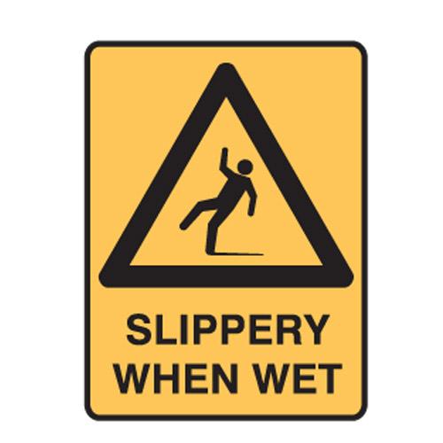Slippery When Wet Door Barricade Sign, SKU: S2-1936